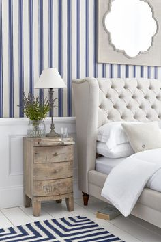 Nautical decor is a trend that never gets old. For a subtle take on a nautical bedroom look, try mixing blue and white stripes with rustic bedside furniture. Our Wiltshire upholstered bed frame adds a luxurious finish. Home Bedroom, Bedroom Furniture, Bedroom Decor, Master Bedroom, Bedroom Ideas, Furniture Ideas, Cabin Furniture, Western Furniture, Grey Furniture