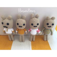 Handmade crochet bunnies by lilies and bows