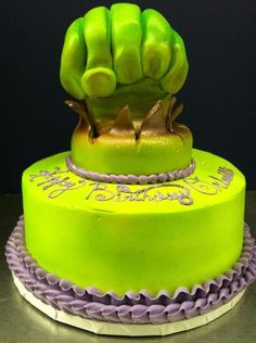 The Incredible Hulk Birthday Cake made at Roly's Bakery!
