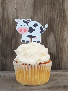 Farm Birthday Party - Set of 12 Cow Cupcake Toppers by The Birthday House on Etsy, $6.00