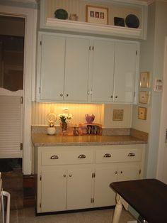 Kitchen Cabinets painted by SheShe in SW Rainwashed and BM Coastal Fog