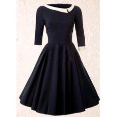 Vintage Fashion: So Couture - Navy Mistress Mad Men Vintage Swing dress 50s Dresses, Plus Size Dresses, Vintage Dresses, Vintage Outfits, Skater Dresses, Sleeve Dresses, Cheap Dresses, Pretty Outfits, Pretty Dresses