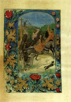"""""""Mary of Burgundy Hunting While Pursued by Death"""", reimagined as the legend of """"The Three Living and the Three Dead"""". From """"The Hours of Mary of Burgundy and Emperor Maximilian"""", c. 1480. Dimensions of folio, 105 x 73 mm, or 4.13 x 2.87 in. Located in the Staatliche Museen in Berlin, item # Hs. 78 B 12."""