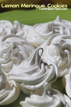 Lemon Meringue Cookies  Just add lemon zest to the sugar before adding the sugar in the normal recipe.