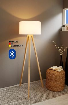Stuff from www. Smart Home, Bluetooth, Cecile, Shades Of White, Tripod Lamp, Solid Oak, Light Colors, Floor Lamp, Lights