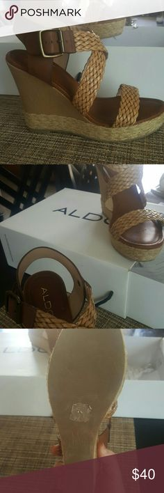Aldo 4.5 inch wedge Very comfortable, not heavy. I only wore them once. I love them so much but I just never get to wear them. Aldo Shoes Espadrilles