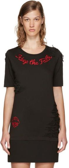 DSQUARED2 Black Keep The Faith Renny Fit T-Shirt