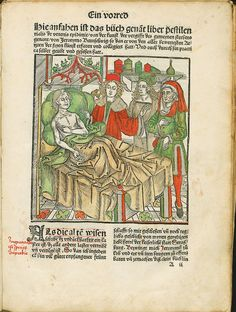 "A leaf with a sick man in a bed in Hieronymus Brunschwig's ""Liber pestilentialis de venenis epidemiae"" by Johannes Grüninger in Strasburg, 1500 (PD-art/old), Polska Akademia Nauk Biblioteka Gdańska"