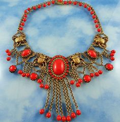 Signed Askew London Vintage Coral Art Glass Scarab Bib Statement Necklace C 1980's