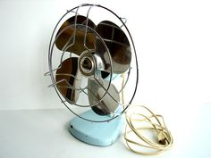 I need a new fan that looks vintage for my sewing room (a.k.a sweat shop).  Old wiring makes me nervous