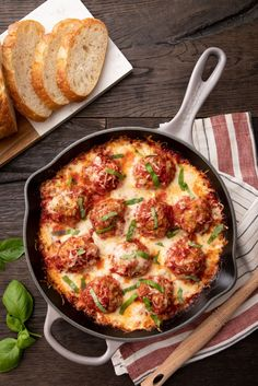 Winter comfort food at its best: This one-pan sausage ricotta meatball bake goes from oven to stove to table in America's Test Kitchen's recommended skillet, the enameled cast iron Signature Skillet from Le Creuset. Iron Skillet Recipes, Cast Iron Recipes, Italian Dishes, Italian Recipes, Pork Recipes, Cooking Recipes, Recipies, Drink Recipes, Ricotta Meatballs