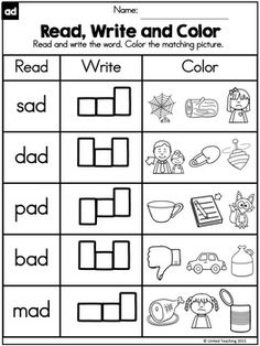 CVC Words : Read Write and Color by United Teaching | Teachers Pay Teachers Reading Comprehension Worksheets, Phonics Worksheets, Phonics Activities, English Activities For Kids, English Worksheets For Kids, Read Write Inc Phonics, Cvc Word Families, Cvc Words, Literacy
