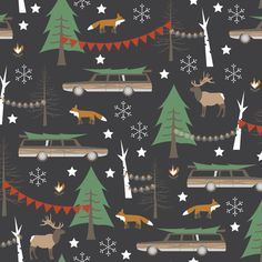 Station Wagon Christmas - Small Scale fabric by papercanoedesign on Spoonflower - custom fabric