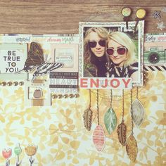 Scrapbook layout using the Pinkfresh Studio 'Escape The Ordinary' collection