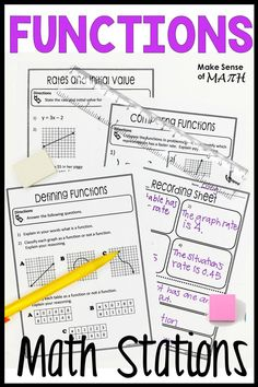 Check out these functions math stations for your grade math classroom. Aligned to the common cores standards. Students will have fun learning about functions in these stations which are so much more engaging than a worksheet. Perfect for the middle s Fun Math, Math Games, Math Activities, Algebra Games, Math 8, Math Talk, Algebra 2, Math Teacher, Math Classroom