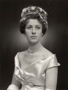 Jennifer, Countess Lonsdale, nee Lowther, wearing a diamond star tiara, 1958