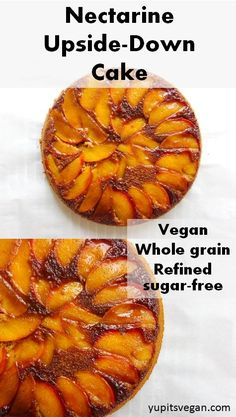 Vegan Nectarine Upside-Down Cake | Yup, it's Vegan. Lightly-sweetened summer cake made with spelt flour.