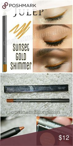 Julep Gel Eye Glider Eyeliner Pencil New in Box - Never Used  Full Size & Authentic  Color: Sunset Gold (golden amber shimmer)  A waterproof eye pencil with the formula of a gel eyeliner that glides on smoothly without tugging or skipping. Sets in 30 seconds & provides 10+ hours of wear. Ophthalmologist tested.  ☆ Easy-to-use eye pencil delivers the creamy formula & intense color payoff of a gel eyeliner. ☆ Clinically proven to last for 10+ hours. ☆ For best results, replace cap between uses…