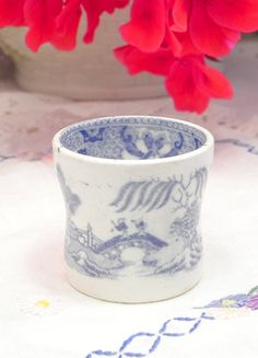 Cute Vintage eggcup blue and white English China by FairlyRandom