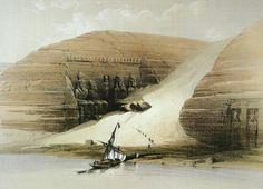 Arrival at Abu Simbel ca. 1839. David Roberts lithograph