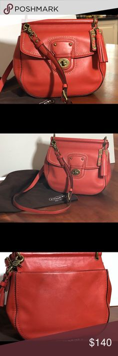 "Coach Poppy Willis Handbag Coach handbag in vermillion (limited color). 10"" (L) x 9 1/2"" (H) 3 1/2"" (W). Beautiful leather. Has top handle but also a strap for cross body function. Has the Coach Legacy lining. This is not a Coach factory product. Very good condition. Slight wear on corner. Coach Bags Shoulder Bags"