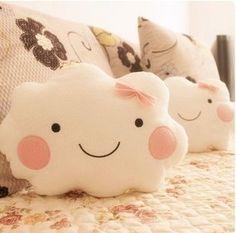Gratis verzending kawaii smiley gezicht boog cloud 100 % katoen gevulde rug kussen zitkussen pluche speelgoed retail