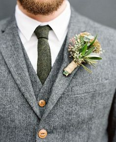 Grey suit with green wool tie