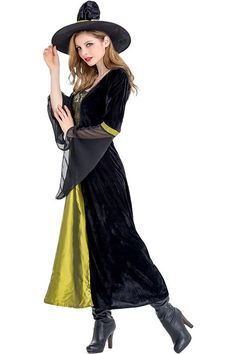 Halloween Costumes For Adult Green And Black Witch Cosplay Dress Costume 3575de3443f8