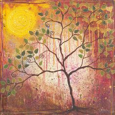 Dar Hosta is extremely talented. She is an award winning children's book author, illustrator, and educator. Dar enjoys painting in whimsical ways that involve nature. This piece, Tree of Time, shows her love of nature.