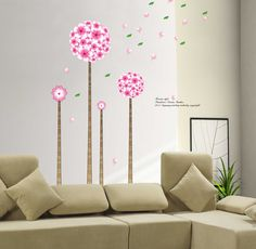 wall stickers - - YYone Korean Style Wall Sticker Pandora's Dream Garden Four Flowers and Trees with Flying Leafs Room Wall Sticker Decor -