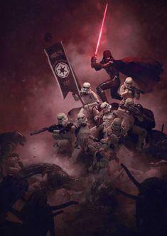 Vader y sus Stormtroopers vs Aliens
