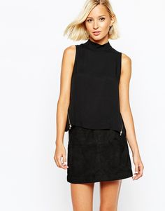 Image 1 of River Island Zip Detail High Neck Top