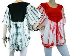 Batik Embroidered Scoop Neck Batwing Poncho Blouse