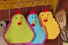 Crochet this funny pot holder yourself Crochet Kitchen, Crochet Home, Love Crochet, Crochet Flowers, Knit Crochet, Crochet Potholders, Knit Dishcloth, Amigurumi Patterns, Crochet Patterns