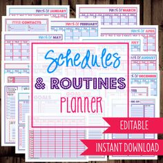 Daily Planner, Monthly, Planner, Weekly, To Do List, Calendars-Schedules and Routines Planner-21 Sheets-Dots-INSTANT DOWNLOAD & EDITABLE