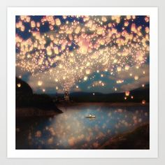 Love Wish Lanterns Art Print by Paula Belle Flores - $18.00