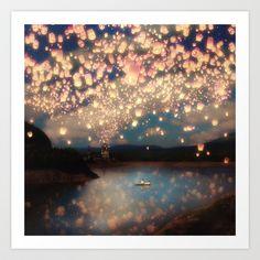 Love Wish Lanterns Art Print by Paula Belle Flores - $19.00