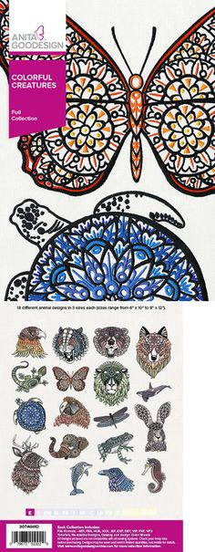 Embroidery Machines 71196: Anita Goodesign Embroidery Designs Cd Colorful Creatures 307Aghd - New Sealed -> BUY IT NOW ONLY: $59.95 on eBay!