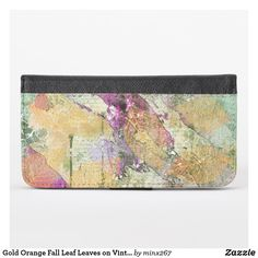 Gold Orange Fall Leaf Leaves on Vintage Decoupage iPhone Wallet Case Iphone Wallet Case, Card Wallet, New Iphone, Apple Iphone, Ipod Touch Cases, Phone Card, Unique Iphone Cases, Camera Case, Artwork Design