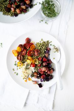 Lentil Goat Cheese Salad with Roasted Beets & Tomatoes #recipe