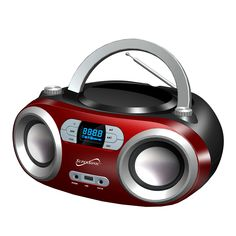 Supersonic Portable Bluetooth Audio System-Black MP3/CDPlayer-Red, Red