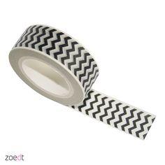 Masking tape wit met zwarte zigzag 10 meter lang, 1,5 cm breed
