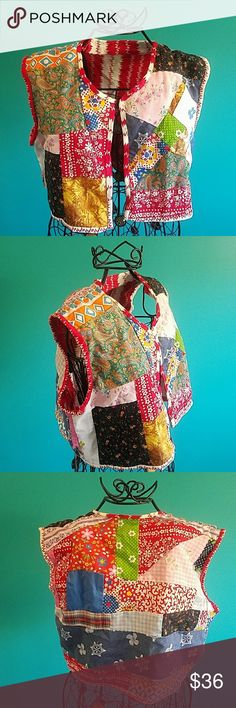 🆕Vintage handmade patchwork vest Like new. Great with an all black dress to bring attention to the vest or with a white tank and leggings. Fits xs-small juniors.  Feel free to ask any and all questions before purchase. Have a blessed day! ✌💚😄 Tops