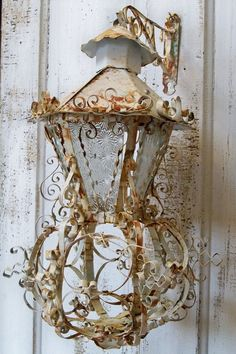 Large ornate lantern vintage candle holder by AnitaSperoDesign, Vintage Candle Holders, Vintage Candles, Vintage Lanterns, Shabby Cottage, Candle Lanterns, Shabby Chic Style, Lampshades, Hand Painted, Lights