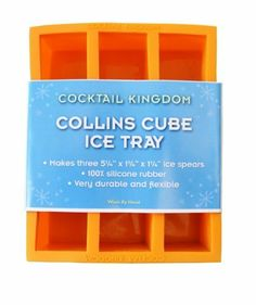 Cocktail Kingdom Collins Ice Mold, 5.25x1.25x1.25 by Cocktail Kingdom. $7.95. Collins Ice Mold, 5.25x1.25x1.25. The Collins Ice Mold make ice cubes that fit a Collin's glass! One big cube melts slower and keeps your drinks cold longer. Made from food-quality rubber. Cubes are 5.25x1.25x1.25 Cheers!