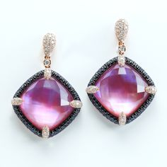 Rina Limor - 18k amethyst with black and white dias and sapphires