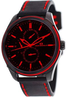 Oceanaut OC8114 Watches,Men's Green Dial Black Leather, Men's Oceanaut Quartz Watches