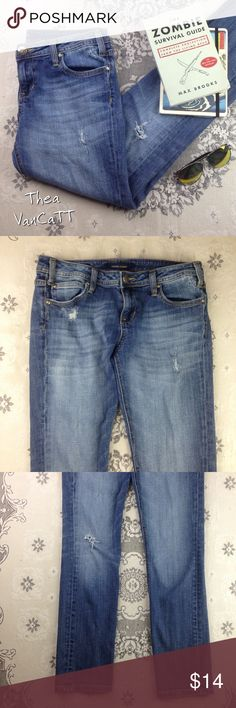 VIGOSS - The Ritz! Skinny Stretch Distressed Jeans Great jeans from VIGOSS! Super comfy jeans! Lightly worn with a small area of discoloration shown in 4th photo, not noticeable when worn. Pants still have lots of life left in them!!   Bundle & save!  Happy POSHing friends! <3 Vigoss Jeans Straight Leg