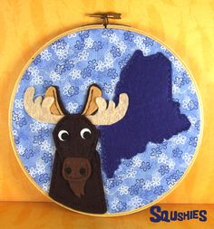 State Animal Hoop Art - Maine Moose from squshies