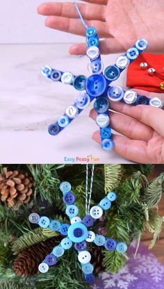 Kids Christmas Ornaments, Christmas Crafts For Kids, Xmas Crafts, Craft Stick Crafts, Halloween Crafts, Christmas Fun, Craft Sticks, Button Ornaments Diy, Crafts With Buttons